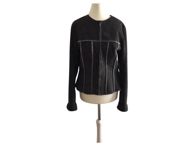 Chanel Authentic chanel real fur shearling sheepskin Jackets Fur,Lambskin Brown ref.143146