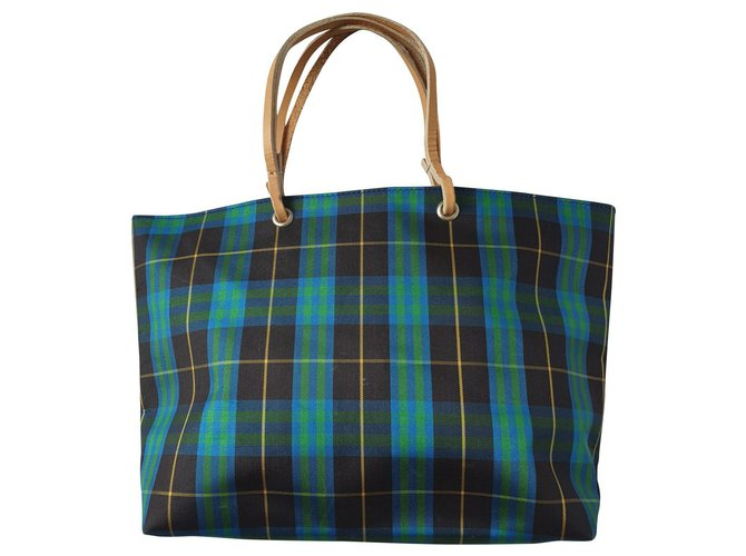 Burberry Nova Check Tote Totes Nylon Blue,Green ref.143339