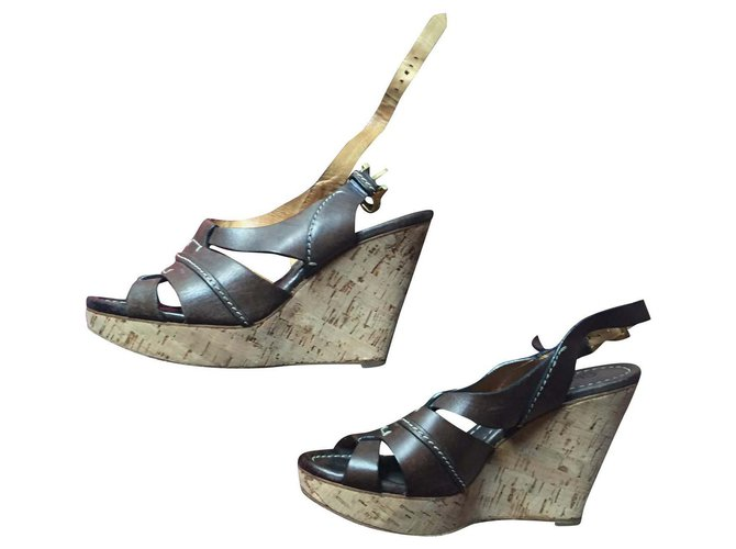 Chloé chole shoes Wedge mules Leather Brown ref.143390