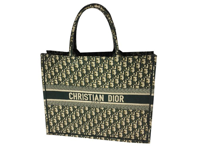 Dior Book tote Handbags Cotton Green ref.143455