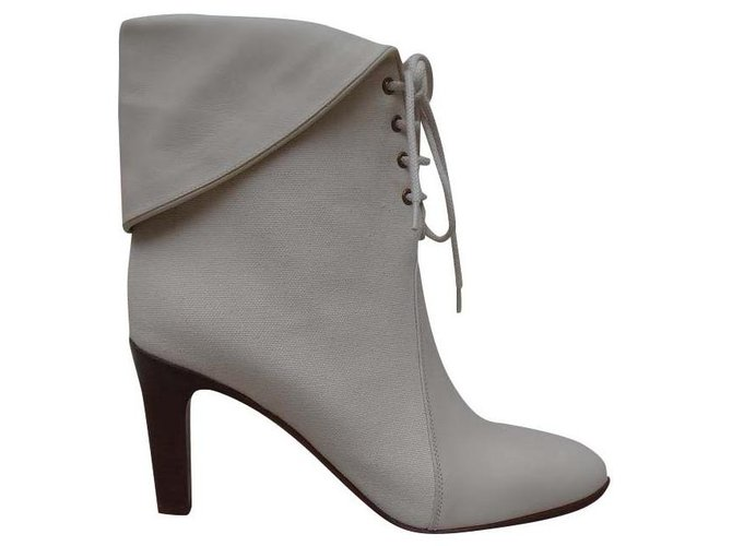 Chloé Ankle Boots Ankle Boots Leather,Cloth Cream ref.143528