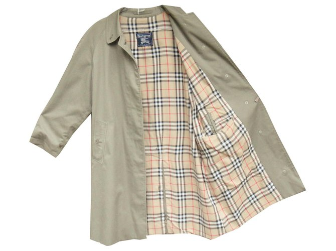 Burberry Waterproof Burberry vintage size 42 Trench coats Cotton,Polyester Khaki ref.143734