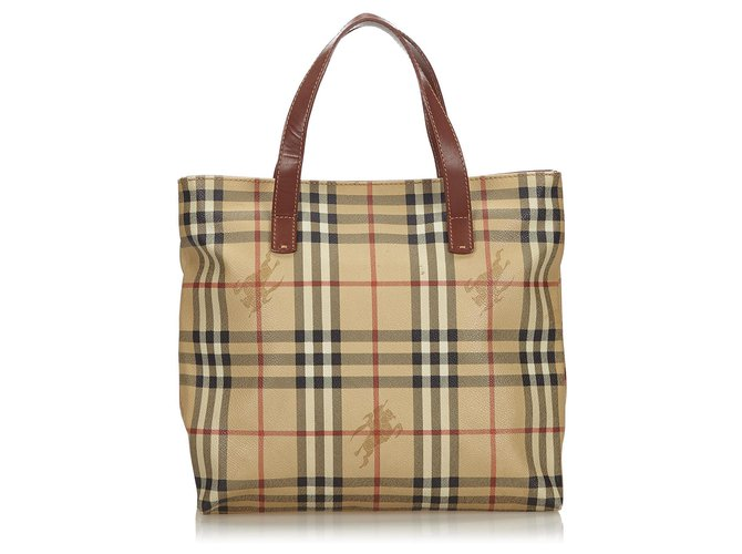 Burberry Burberry Brown Haymarket Check Tote Bag Totes Leather,Other,Plastic Brown,Multiple colors,Beige ref.143787