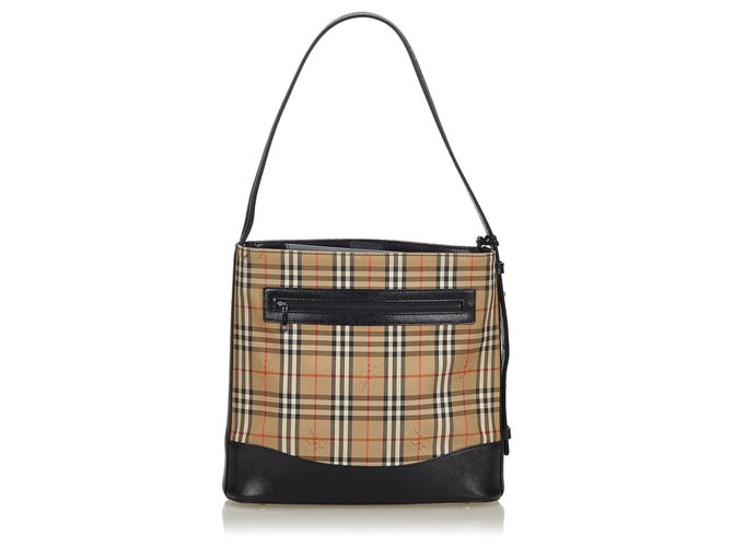 Burberry Burberry Brown Haymarket Check Canvas Shoulder Bag Handbags Leather,Other,Cloth,Cloth Brown,Multiple colors,Beige ref.143799