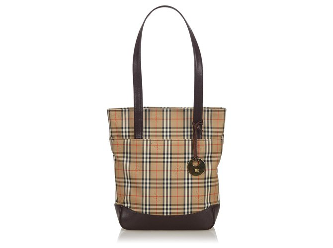 Burberry Burberry Brown Haymarket Check Canvas Tote Bag Totes Leather,Other,Cloth,Cloth Brown,Multiple colors,Beige ref.143801
