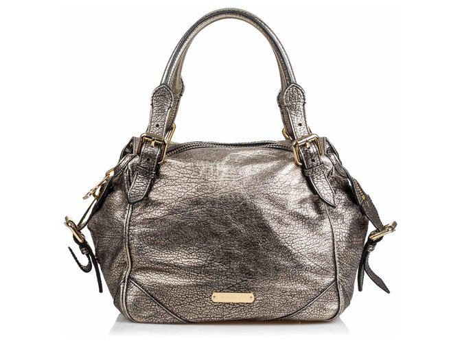 Burberry Burberry Silver Metallic Leather Oakford Handbags Leather,Other Silvery ref.143822