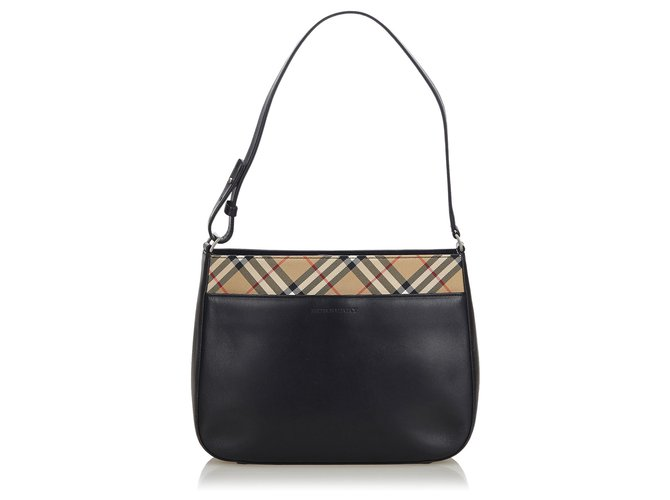 Burberry Burberry Black Leather Shoulder Bag Handbags Leather,Other,Cloth,Cloth Black,Multiple colors ref.143833