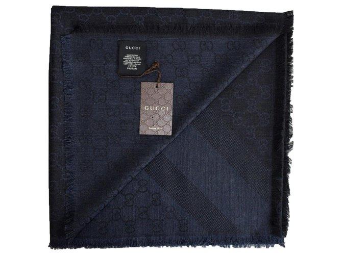 en ligne plutôt sympa large choix de designs Carrés Gucci Étole monogramme bleue et noire Soie,Laine Noir ...