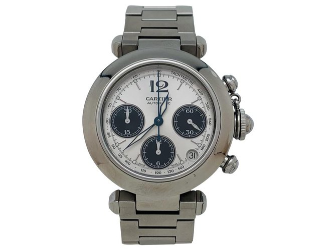"Cartier Cartier ""Pasha"" watch with steel chronograph. Misc Steel Other ref.143921"