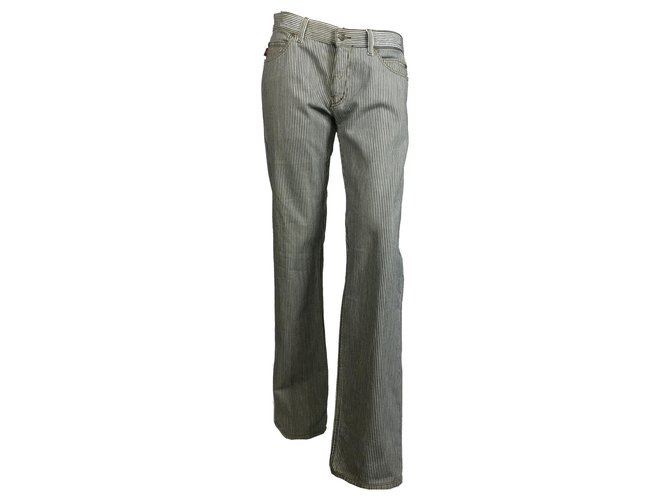 Pantalons Gucci pantalon en denim à rayures Jean Écru,Bleu Marine ref.143942