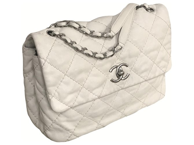 Chanel Maxi Timeless Bag with Chanel Box Handbags Leather Beige,Other,Cream ref.143947