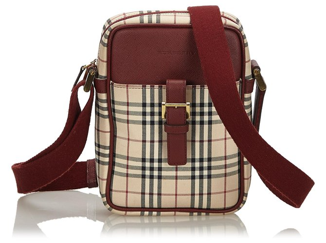 Burberry Burberry Brown House Check Canvas Crossbody Bag Handbags Leather,Other,Cloth,Cloth Brown,Multiple colors,Beige ref.143971