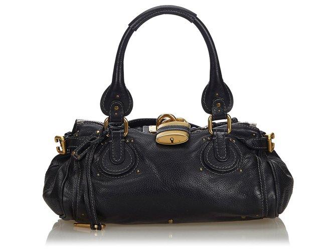 Chloé Chloe Black Leather Paddington Handbag Handbags Leather,Other Black ref.144013
