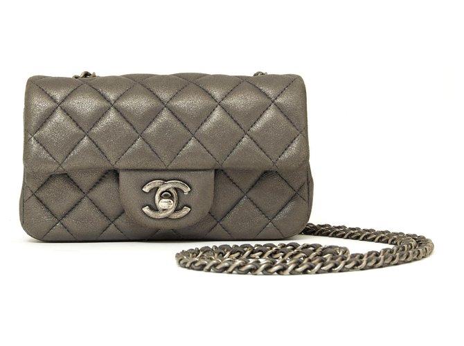 Chanel TIMELESS CLASSIC MINI LEAD GRAY Handbags Leather Dark grey ref.144200