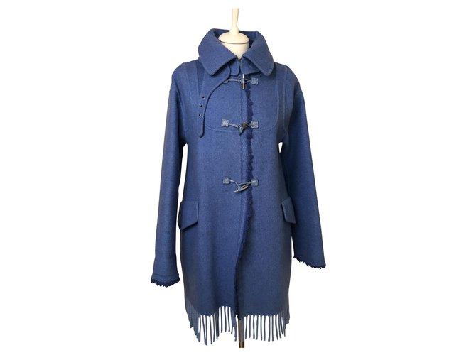 Manteaux Ermanno Scervino Manteau en laine coupe décontractée Laine Bleu ref.144379