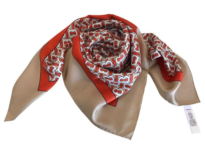 Burberry BURBERRY SILK SCARF Scarves Silk Beige ref.144396