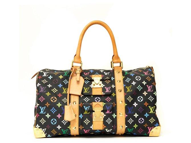 Sacs de voyage Louis Vuitton KEEPALL 45 BLACK MULTICOLOR LTD EDITION Cuir,Toile,Métal Noir,Multicolore,Doré ref.144397
