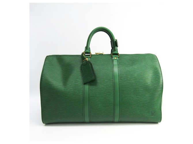 Sacs de voyage Louis Vuitton Louis Vuitton Green Epi Keepall 45 Cuir Vert ref.144461