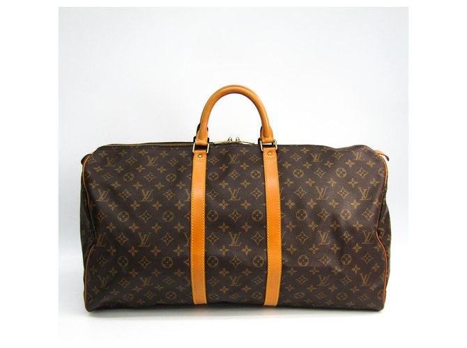 Sacs de voyage Louis Vuitton Louis Vuitton Keepall Monogram Brown 55 Cuir,Toile Marron ref.144474