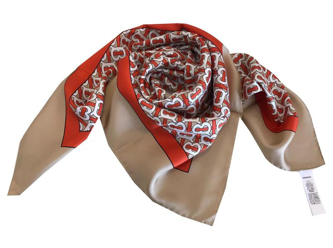 Burberry FOULARD BURBERRY SILK Scarves Silk Beige ref.144512