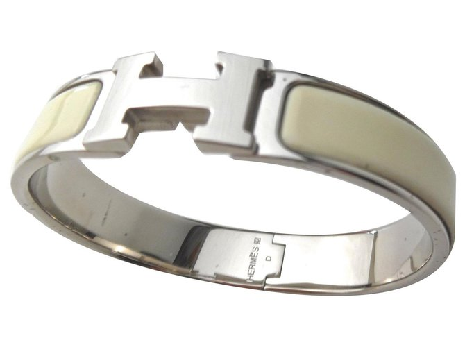 Bracelets Hermès Clic Clac PM Métal Crème ref.144514