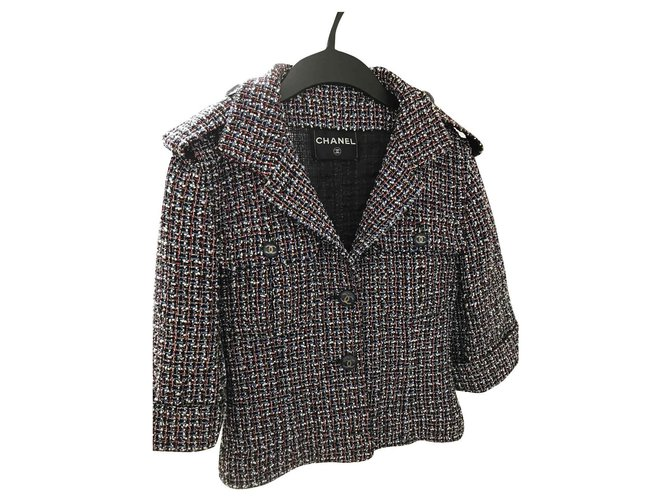 Chanel Jacket Jackets Tweed Navy blue ref.144602