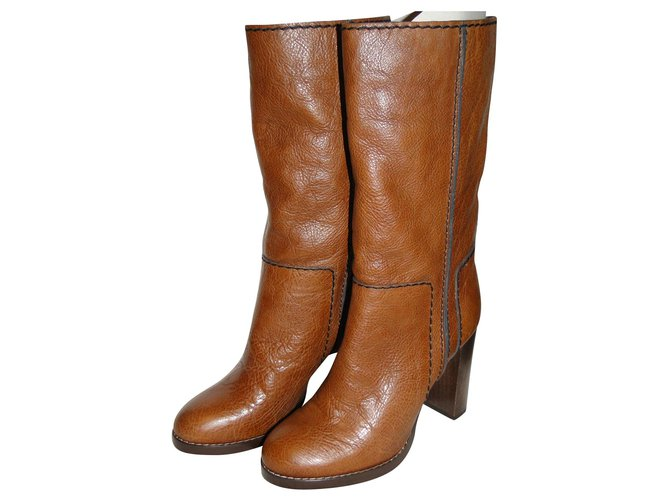 Chloé CHLOE Bohemian chic high heel boots Boots Leather Light brown ref.144747
