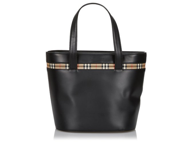 Burberry Burberry Black Leather Tote Bag Totes Leather,Other Black,Multiple colors ref.144805