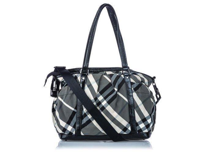 Burberry Burberry Black Beat Check Nylon Satchel Handbags Leather,Patent leather,Nylon,Cloth Black,Grey ref.144814