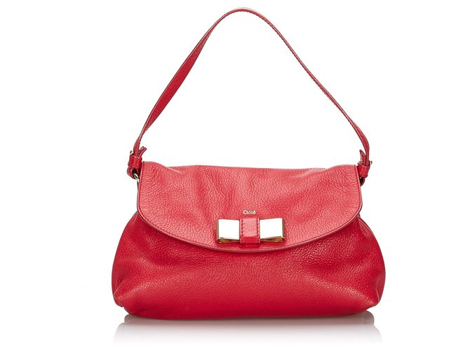 Chloé Chloe Red Leather Lily Bow Crossbody Bag Handbags Leather,Other Red ref.144815