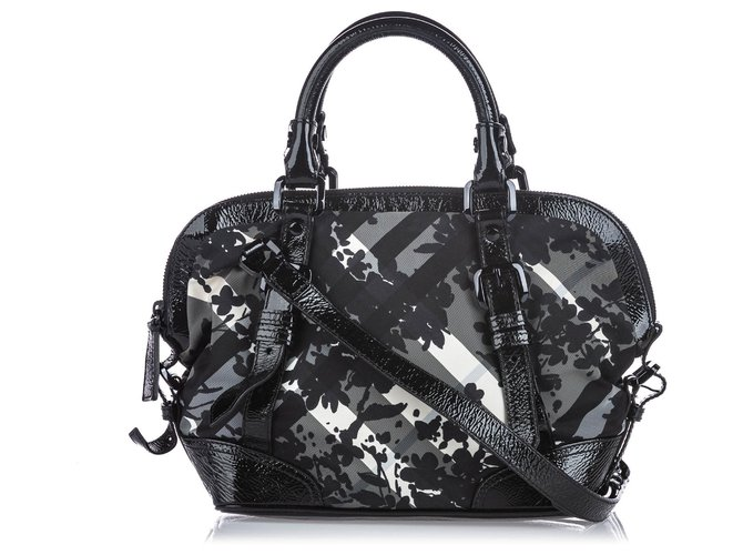 Burberry Burberry Black Beat Check Printed Nylon Satchel Handbags Leather,Patent leather,Nylon,Cloth Black,Grey ref.144853