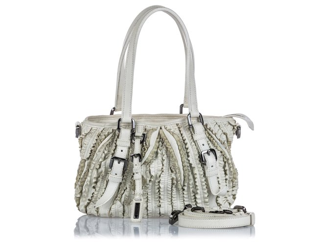 Burberry Burberry White Leather Lowry Ruffled Satchel Handbags Leather,Other White ref.144857