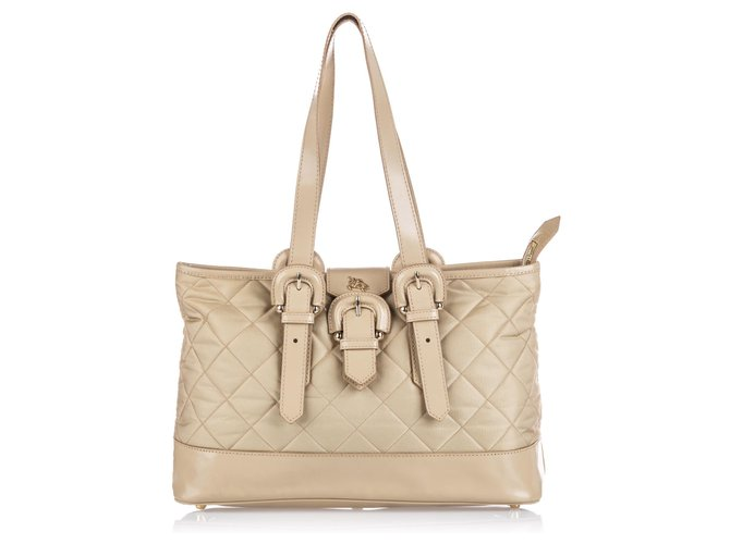 Burberry Burberry Brown Quilted Nylon Tote Totes Leather,Other,Nylon,Cloth Brown,Beige ref.144860