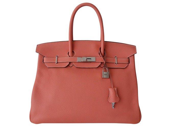 Sacs à main Hermès SAC HERMES BIRKIN FLAMINGO Cuir Rose,Orange,Corail ref.144901