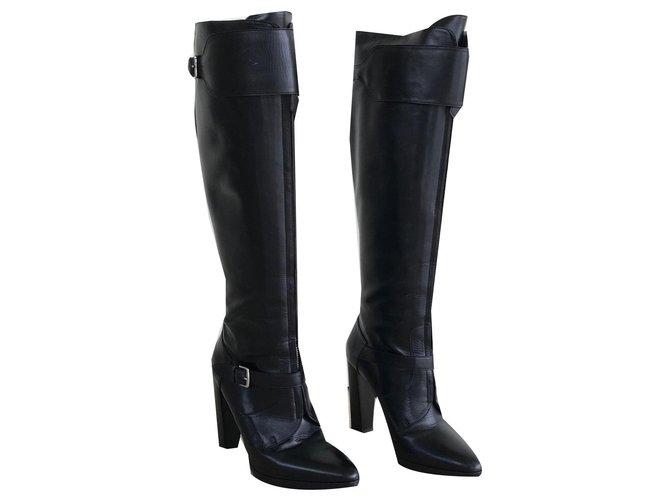 Hermès Hermès leather boots Boots Leather Black ref.144947