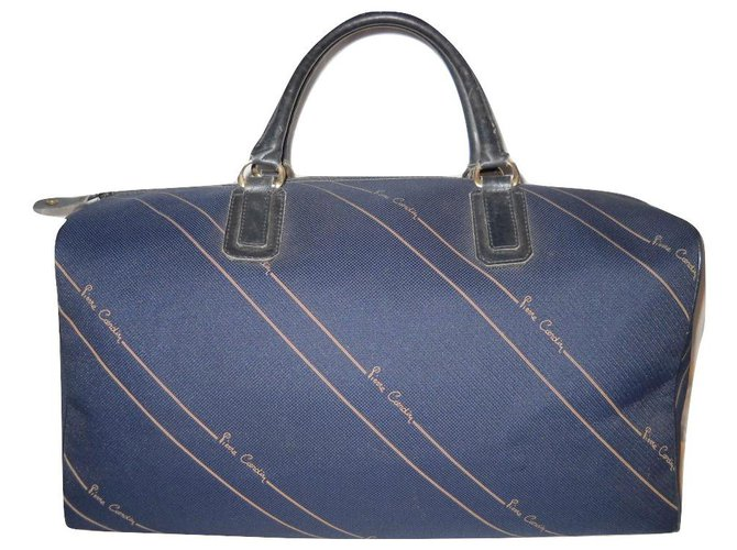 Pierre Cardin PIERRE CARDIN vintage travel bag Bags Briefcases Leather,Cloth Navy blue ref.144959