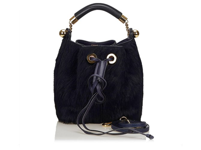 Chloé Chloe Blue Fur Gala Bag Handbags Leather,Other,Fur Blue,Dark blue ref.144985