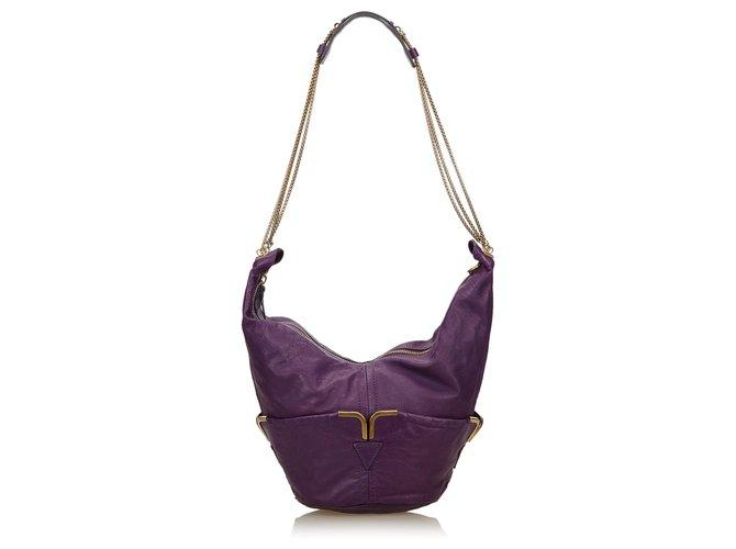 Chloé Chloe Purple Leather Chain Shoulder Bag Handbags Leather,Other Purple ref.144986