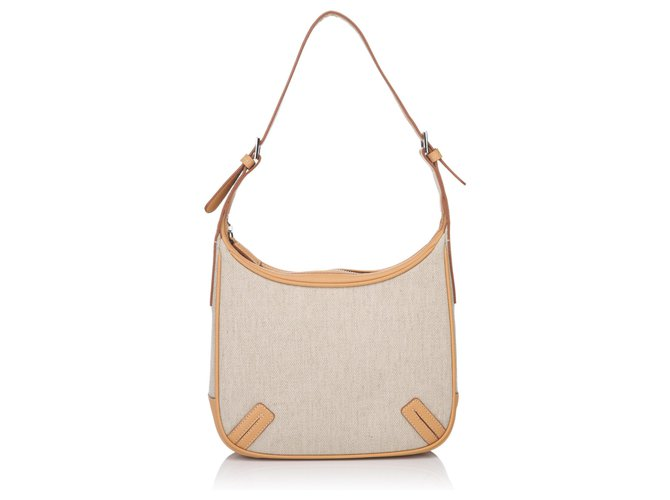 Burberry Burberry Brown Canvas Shoulder Bag Handbags Leather,Other,Cloth,Cloth Brown,Beige,Light brown ref.144987