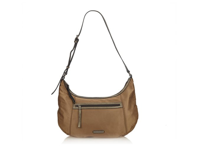 Burberry Burberry Brown Nylon Shoulder Bag Handbags Leather,Other,Nylon,Cloth Brown ref.144993