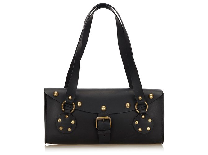 Céline Celine Black Studded Leather Shoulder Bag Handbags Leather,Other Black ref.144996