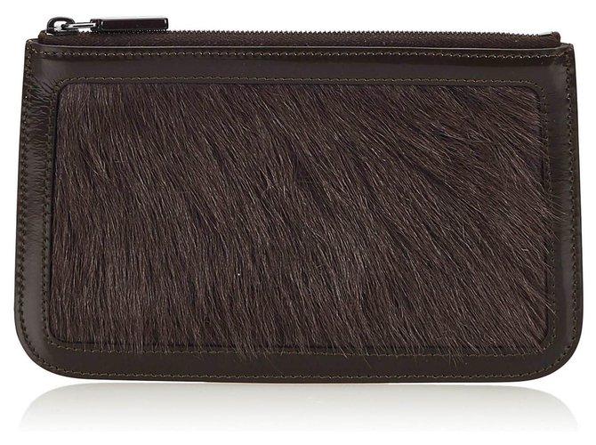 Céline Celine Black Fur Pouch Purses, wallets, cases Leather,Other,Fur Black ref.145009