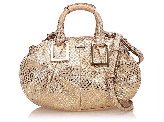 Chloé Chloe Brown Leather Ethel Handbags Leather,Other Brown,Beige,Golden ref.145011