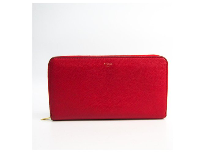 Céline Celine Red Calfskin Long Wallet Purses, wallets, cases Leather,Pony-style calfskin Red ref.145027