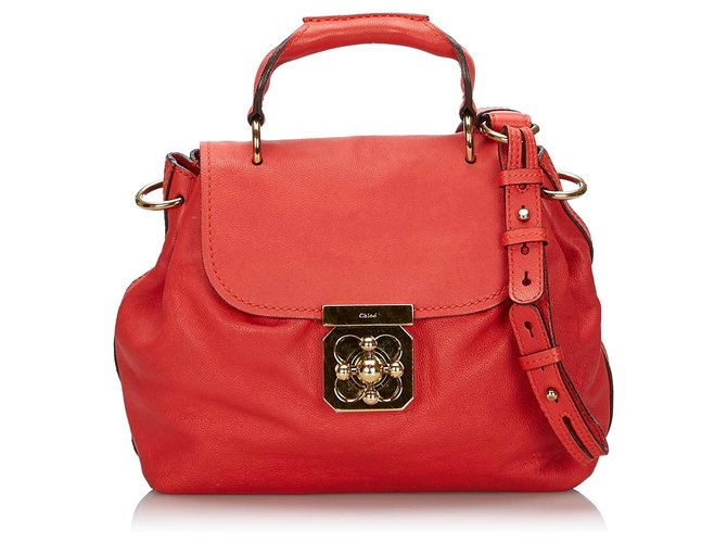 Chloé Chloe Red Leather Elsie Satchel Handbags Leather,Other Red ref.145038
