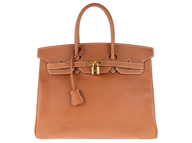 Sacs à main Hermès Superbe Birkin 35 en cuir Gold, accastillage plaqué or en très bon état ! Cuir Doré ref.145131
