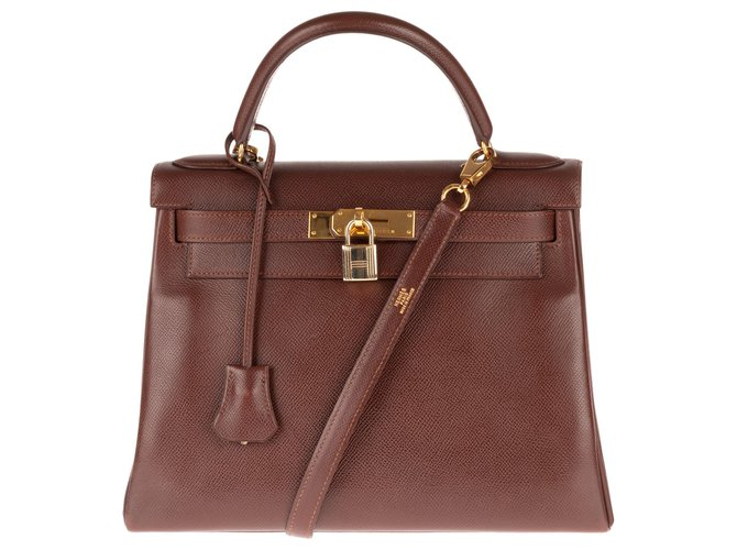 Hermès Superb Hermes Kelly 28 back to Courchevel Cocoa leather shoulder strap, gold plated hardware Handbags Leather Brown ref.145134