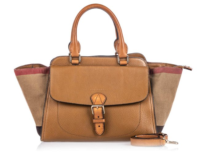 Burberry Burberry Brown House Check Harcourt Satchel Handbags Leather,Other,Cloth,Cloth Brown,Multiple colors,Beige ref.145138