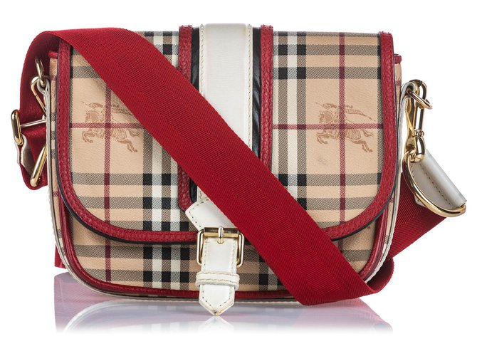 Burberry Burberry Brown Haymarket Check Canvas Crossbody Bag Handbags Leather,Other,Cloth,Cloth Brown,Multiple colors,Beige ref.145148