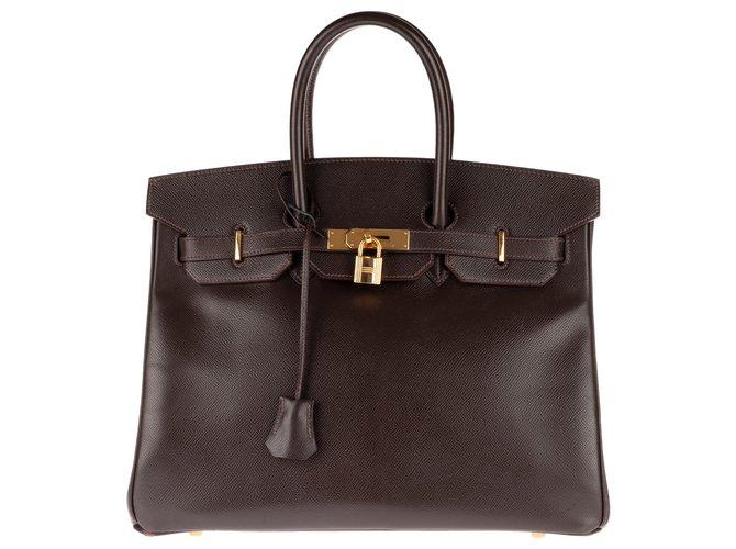 Sacs à main Hermès Hermès Birkin 35 en cuir Courchevel couleur Café, accastillage plaqué or, en très bon état ! Cuir Marron ref.145175